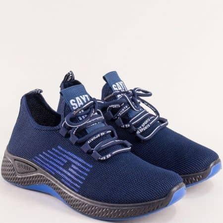 Дамски маратонки с връзки в синьо и черно- MAT STAR 138147s