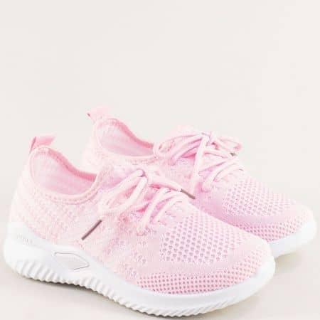Розови детски маратонки с връзки на бяло ходило 138156rz