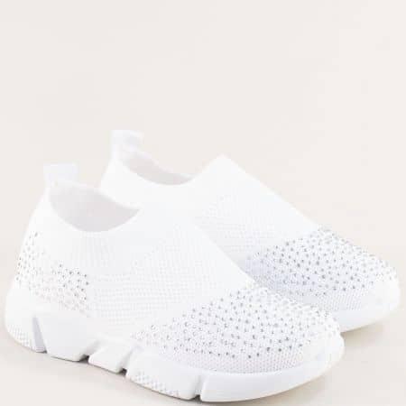 Бели детски маратонки с бляскави камъчета 138158b