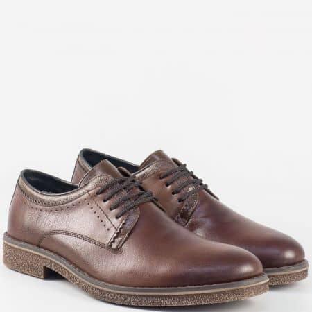 Кожени мъжки обувки с връзки- Rieker в тъмно кафяво 13820kk