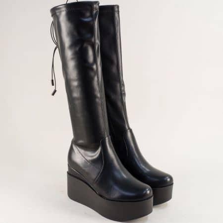 Дамски ботуши Eliza на висока платформа в черен цвят 13872563ch