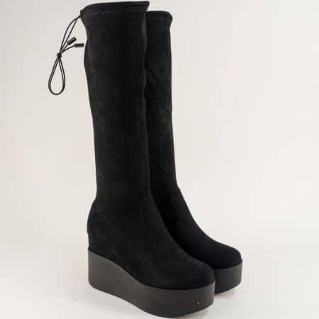 Черни дамски ботуши на висока платформа 13872563vch