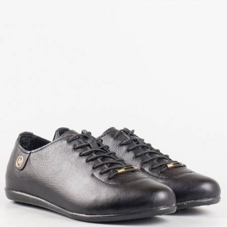 Дамски ортопедични обувки със сая изработена от висококачествена естествена кожа с ортопедична стелка в черен цвят 138ch
