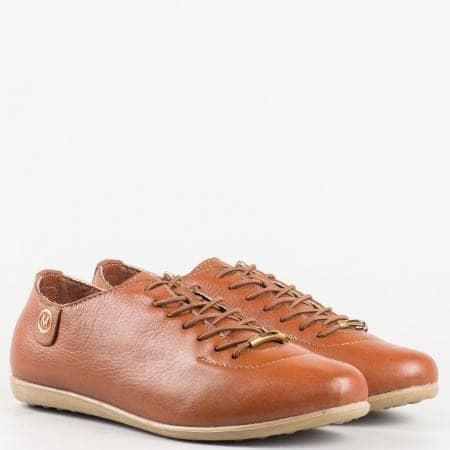 Дамски спортни обувки изработени изцяло от естествена кожа с ортопедична стелка в кафяв цвят 138k