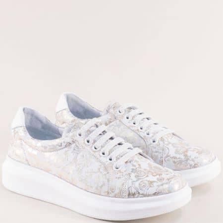 Кожени дамски обувки в бяло с флорален принт- NOTA BENE 139821148bps