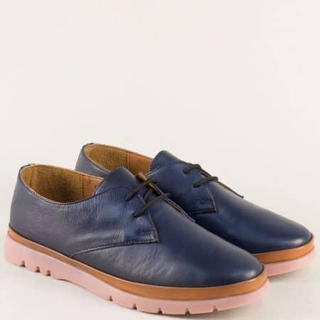Сини дамски обувки от естествена кожа и каучук  14101s