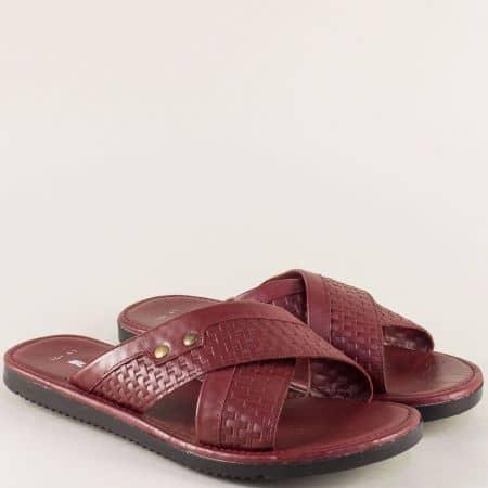 Мъжки чехли от естествена кожа в цвят бордо 14113bd
