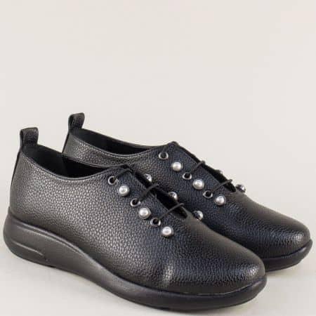 Дамски обувки с връзки на равно ходило в черен цвят 1412198ch