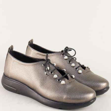 Бронзови дамски обувки с връзки на равно ходило  1412198brz