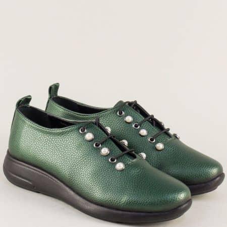 Дамски обувки с връзки на равно ходило в зелен цвят 1412198z