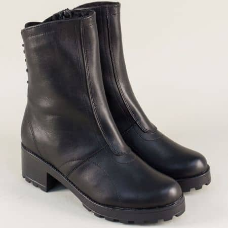 Кожени дамски боти в черен цвят на комфортно ходило 141610ch