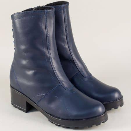 Дамски боти на среден ток от естествена кожа в син цвят  141610s