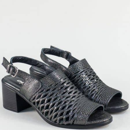 Бронзови дамски сандали с прорези и кожна стелка 1417296dsbrz