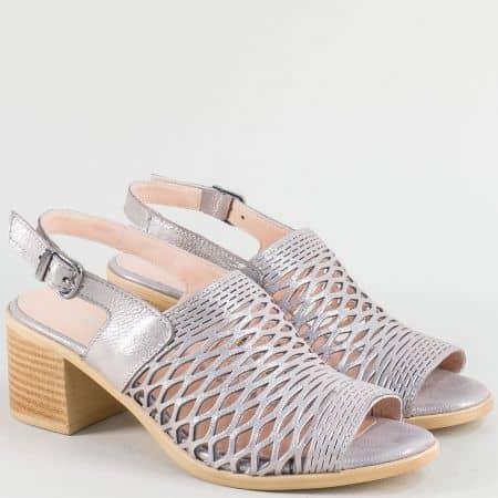 Сиви дамски сандали от сатен и естествена кожа 1417296dssv