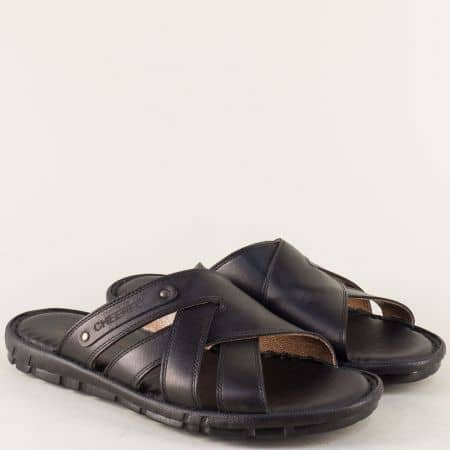 Шити мъжки чехли на равно ходило в черен цвят 1420ch