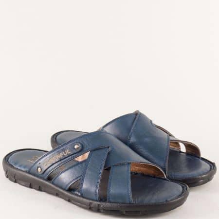 Кожени мъжки чехли на равно ходило в син цвят 1420s