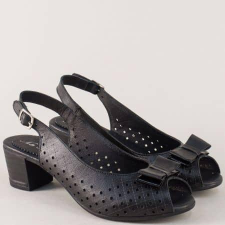 Черни дамски сандали от перфорирана естествена кожа 14277886ch