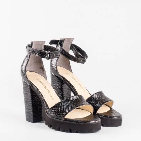 Черни елегантни дамски сандали  1430zch