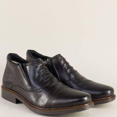 Черни мъжки боти на комфортно ходило от естествена кожа 14389ch