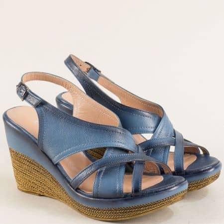 Сини дамски сандали на платформа с кожена стелка 144013184s