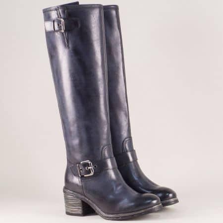 Сини дамски ботуши от естествена кожа на среден ток 1440300s