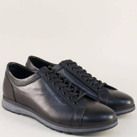 Спортни мъжки обувки в черен цвят с кожена стелка 14403ch