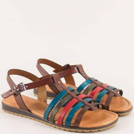 Кожени дамски сандали в кафяво, синьо и червено 144197ps
