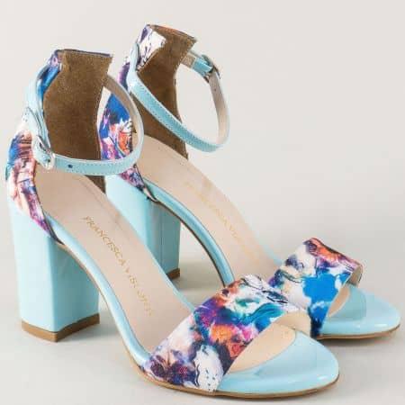 Пъстри дамски сандали на висок ток с коланче и катарама 144sps