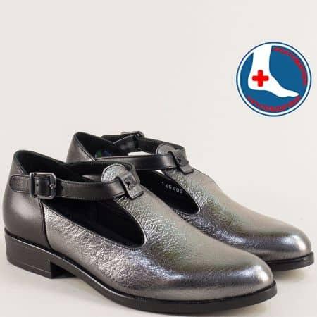 Ортопедични дамски обувки в черно и бронз на нисък ток 145405brz