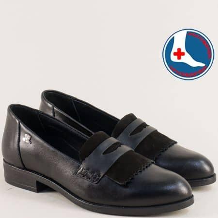Кожени дамски обувки на анатомично ходило в черно 145427ch