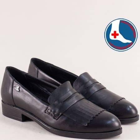 Анатомични дамски обувки в черно от естествена кожа 145427ch1