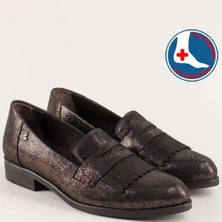 Тъмно кафяви дамски обувки от естествена кожа и сатен 145427chk