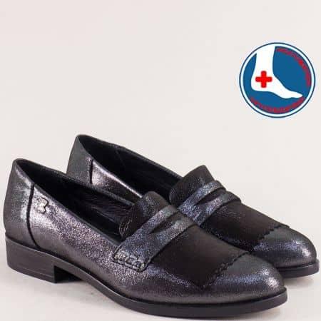 Дамски обувки в черен цвят от сатен и естествена кожа 145427sch