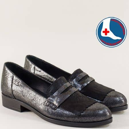 Ортопедични дамски обувки в черно и сребро на нисък ток 145427sr