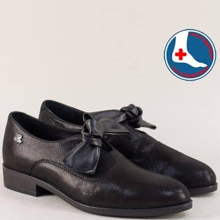 Черни дамски обувки с кожена ортопедична стелка 145440sch