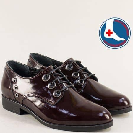 Ефектни дамски обувки от естествен лак в цвят бордо на анатомично ходило 145446lbd