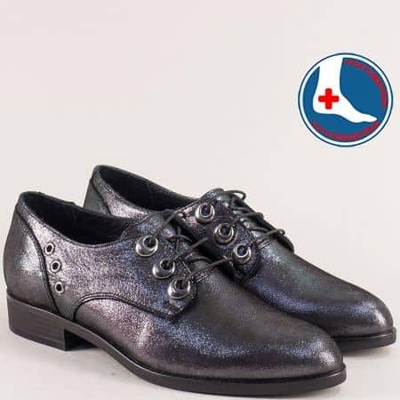 Дамски обувки в черен цвят от естествена кожа и сатен 145446sch