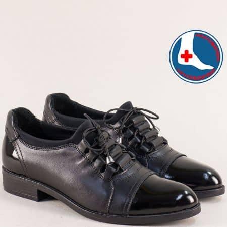 Дамски обувки от естествен лак и кожа в черен цвят 145455ch