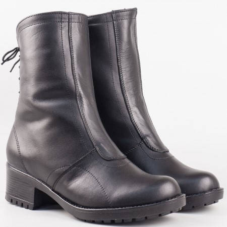Дамски ежедневни боти на грайферно ходило от висококачествена естествена кожа на български производител в черен цвят 146658ch