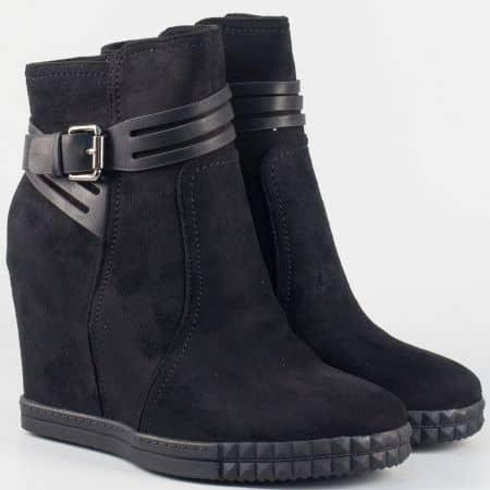 Черни дамски боти с цип на скрита платформа 148084vch