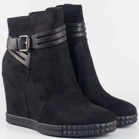 Черни дамски боти на скрита платформа 148084vch