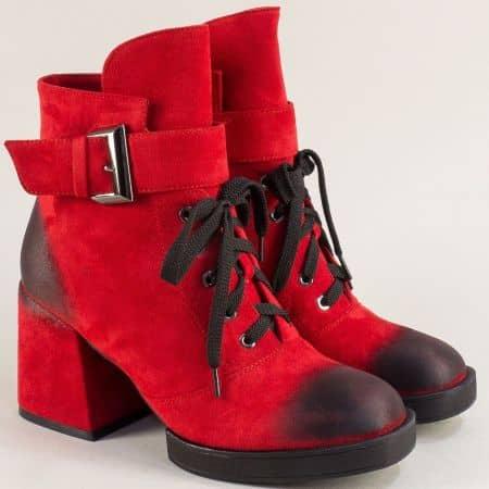 Червени дамски боти на среден ток и платформа- ELIZA 148557nchv