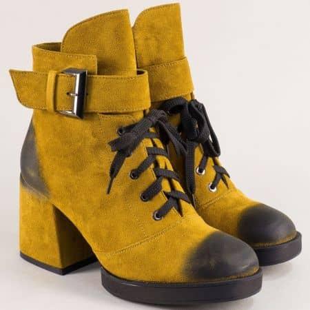 Жълти дамски боти с връзки, цип и катарама- ELIZA 148557nj