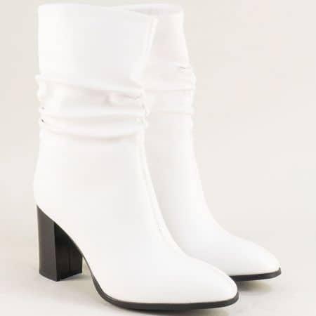 Бели дамски боти на стабилен висок ток- Eliza 148656b
