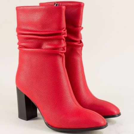 Дамски боти в червен цвят на висок ток- Eliza 148656chv