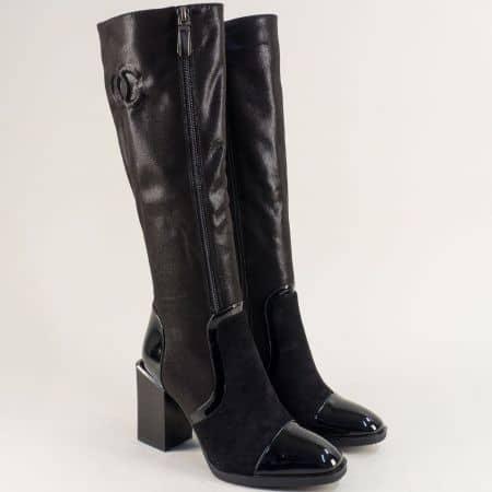 Дамски ботуши на квадратен висок ток в чрен цвят- ELIZA 14897649ch