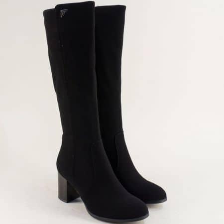 Черни стилни дамски ботуши Eliza на висок ток 14902599ch