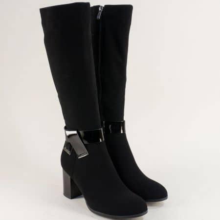 Ефектни дамски черни ботуши на висок ток 14902600ch
