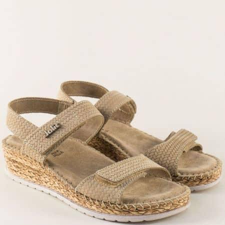Бежови дамски сандали на платформа с велурена стелка 1492710bj