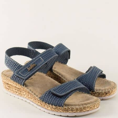 Анатомични дамски сандали с две лепки в син цвят 1492710s
